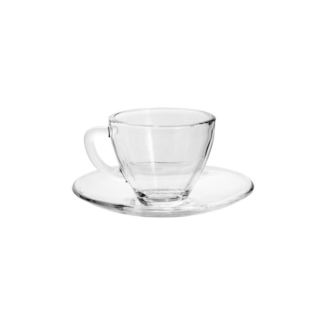 Conjunto de 6 Xícaras de Chá com Pires em Vidro 238ml Rojemac