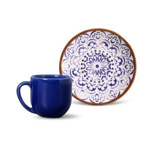 Xícara de Café Andaluzia Porto Brasil Azul e Bege