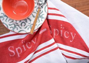 Conjunto de 2 Panos de Copa Spicy Branco e Vermelho