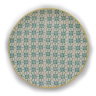 Prato Raso em Cerâmica 27,5cm Florals Kenya Amarelo e Azul