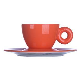 Xícara para Café com Píres em Porcelana 110ml Rainbow Kenya Laranja