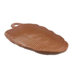 Travessa em Cerâmica Leaves 55cm Rita Lobo Canela