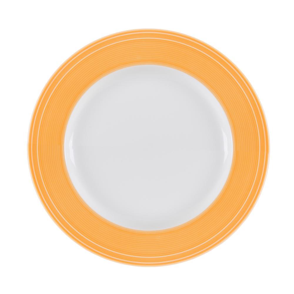 Conjunto de 4 Pratos Rasos em Porcelana 28cm Breeze Kenya Laranja