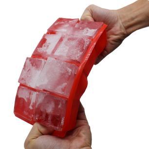 Forma para Gelo em Silicone 6 Cubos Kenya Vermelha