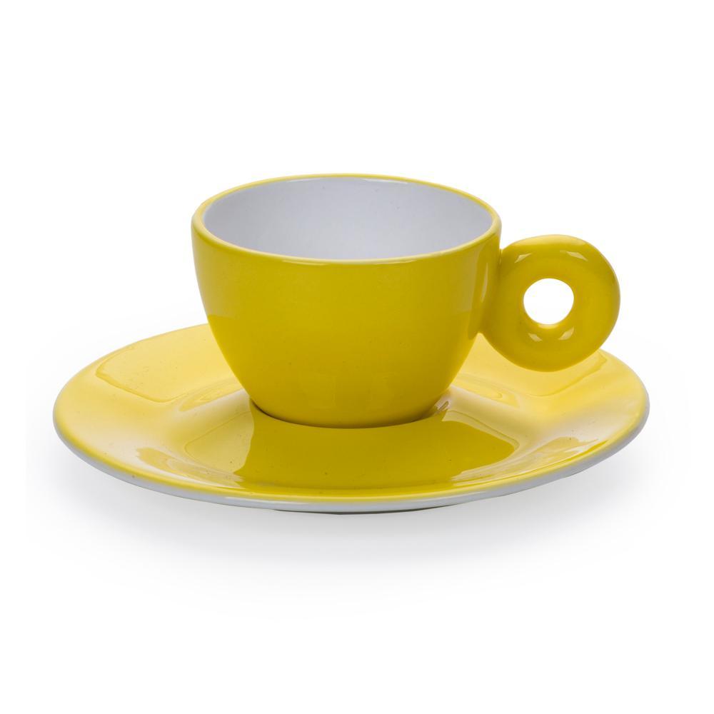 Xícara para Café com Píres em Porcelana Rainbow 110ml Kenya Amarela