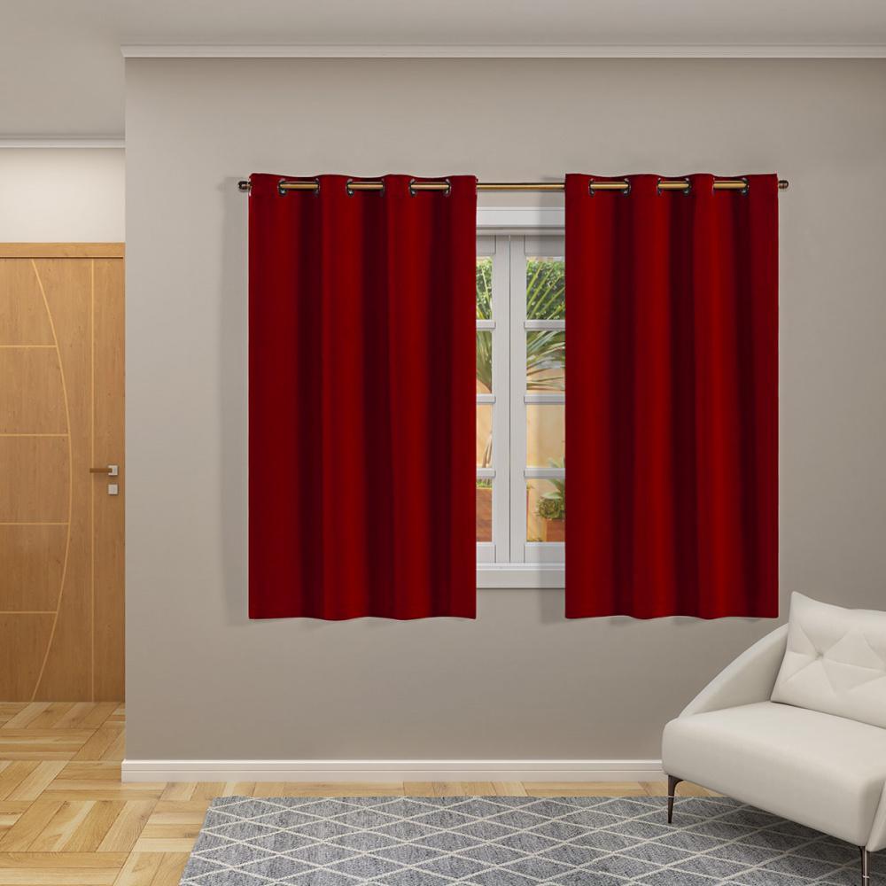 Cortina Blackout Corta Luz 70 % Tecido 2,80 x 1,60 - Vermelho