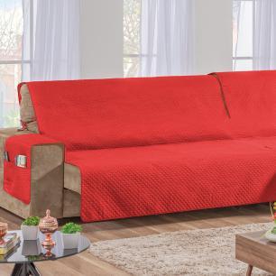 Capa Protetor De Sofá Retrátil Assento Até 2,40m Vermelho