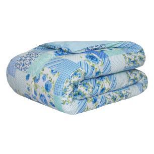 Edredom Classic Casal  Queen Patchwork azul