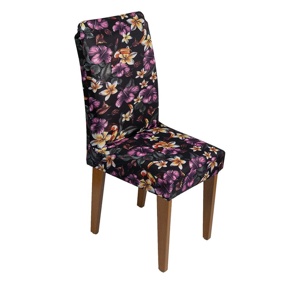 Capa De Cadeira Guilherme Confecções Kit 4 Pcs Flor Violeta