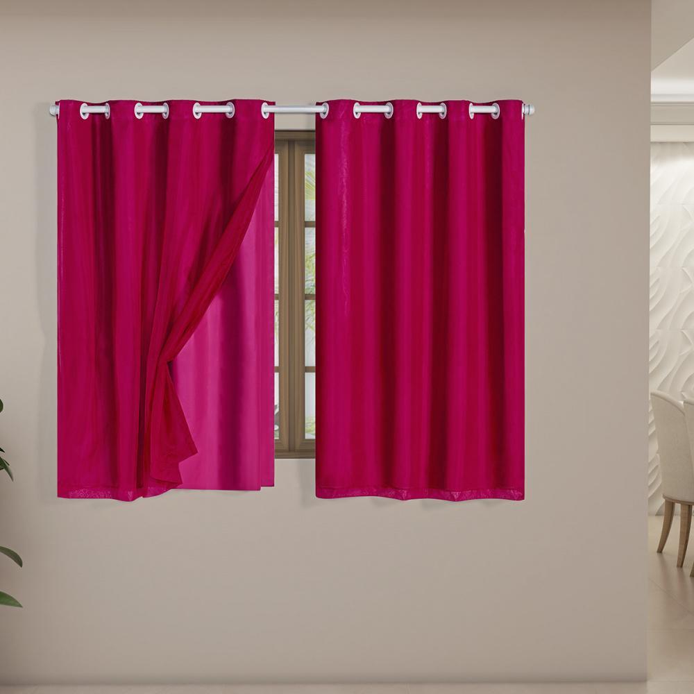 Cortina Blackout PVC com Tecido Voil 2,00 m x 1,40 m Pink