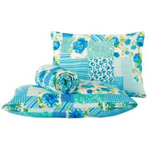 Jogo de lençol Classic 3 peças casal padrão Patchwork azul