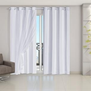 Cortina Blackout PVC com Tecido Voil 2,80 m x 2,80 m Branco