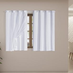 Cortina Blackout PVC com Tecido Voil 2,00 m x 1,40 m Branco