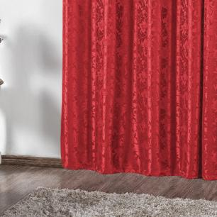 Cortina Jacquard Rafaela 2,80m x 2,30m Vermelho