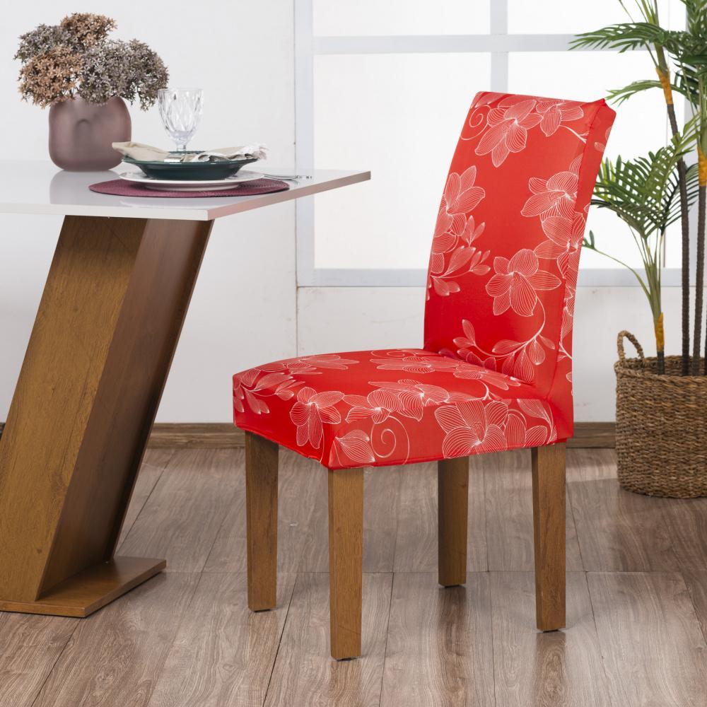 Capa de Cadeira Guilherme Confecções Kit 4 Peças Hibisco