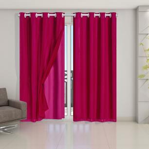 Cortina Blackout PVC com Tecido Voil 2,80 m x 2,30 m Pink