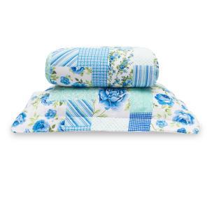 Cobre leito Classic Solteiro 02 Peças - Patchwork Azul
