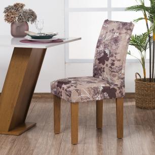 Capa de Cadeira Guilherme Confecções Kit 4 Peças Flor de Maple