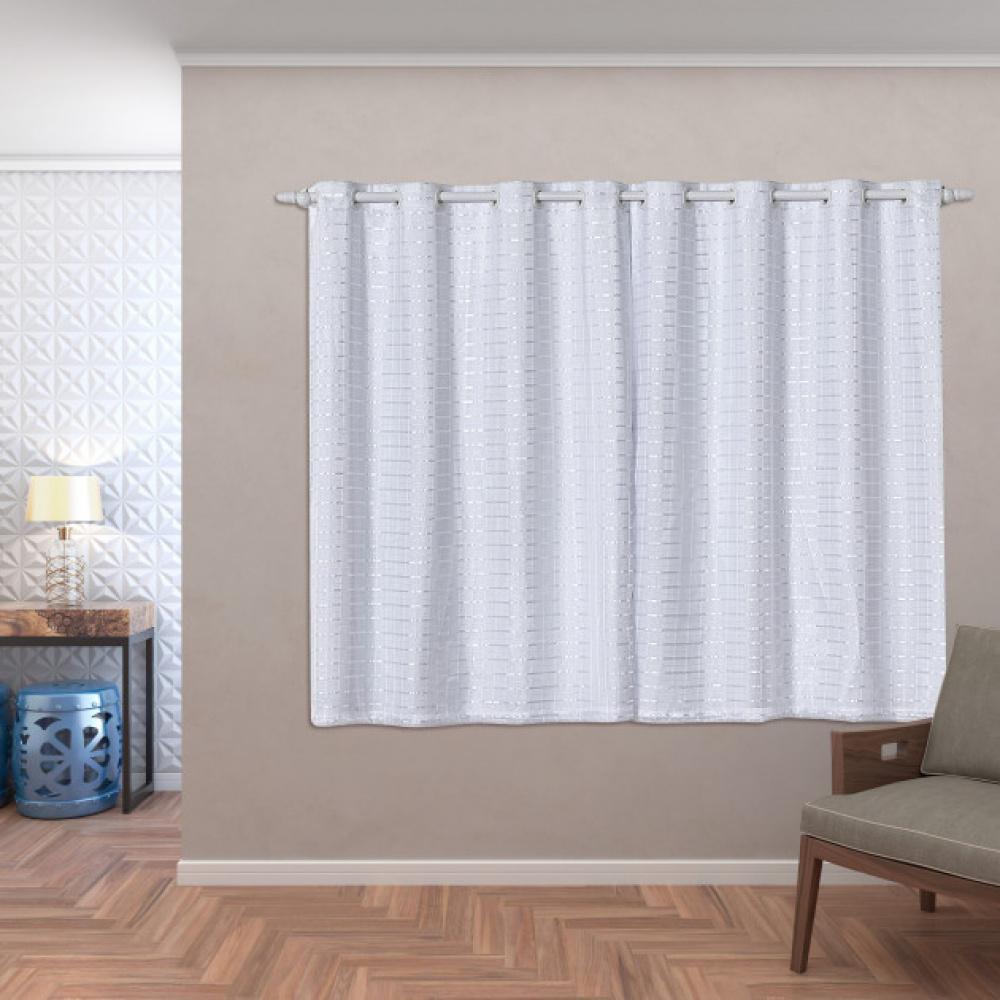 Cortina Blackout PVC c Tecido Voil Xadrez 2,80 x 1,60 Branco