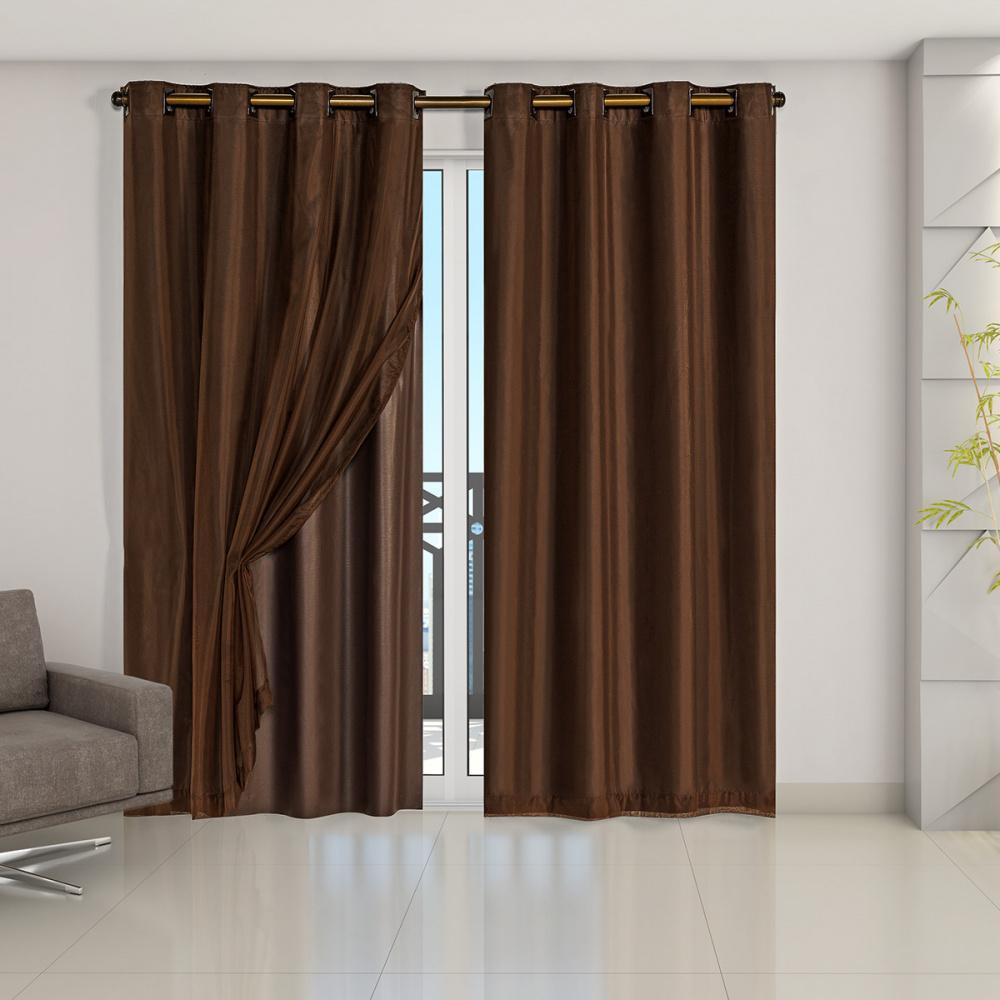 Cortina Blackout PVC com Tecido Voil 2,80 m x 2,80 m Tabaco