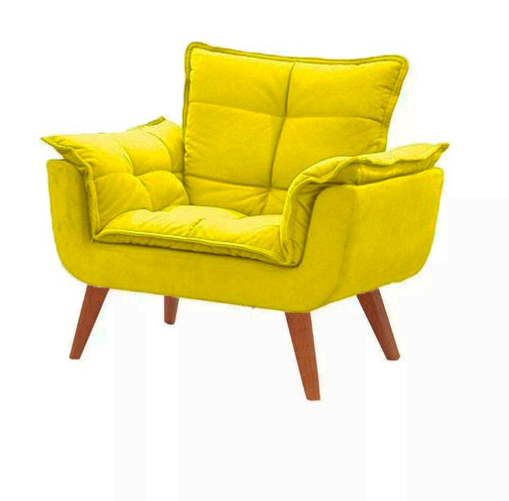 Poltrona decorativa Opala amarela base pé palito MeuNovoLar