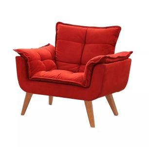 Poltrona decorativa Opala vermelha base pé palito MeuNovoLar