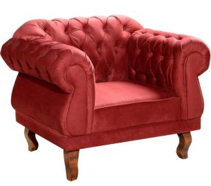 Poltrona decorativa Chesterfield suede vermelho MeuNovoLar