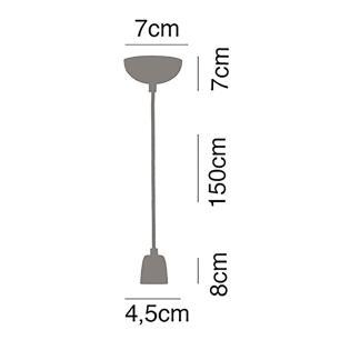 2 Pendentes luminária tecido 165cm na cor preto e branco