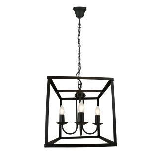 Pendente lustre industrial para mesa 100x36x36 metal preto