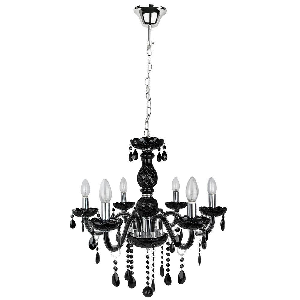 Lustre para sala pendente 120x60 metal e cristal preto