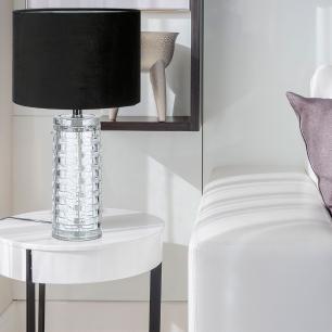 2 Abajures de mesa Charme 43X24X24 vidro e tecido