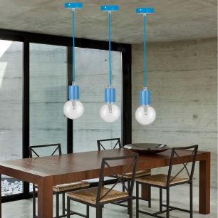 Pendente soquete retro para mesa 155cm metal azul