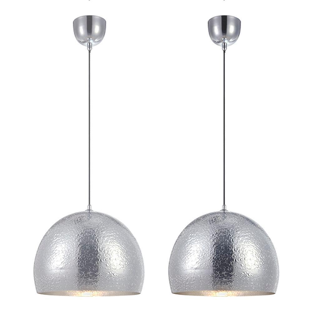 2 Pendentes alumínio prateado 182x40x40 detalhes martelado