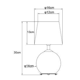 Abajur de Mesa Luminária Decorare Vidro e Metal 30x16x16