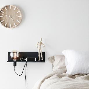 Luminária de parede arandela com USB e dimmer metal preto
