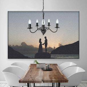Lustre Pendente para mesa de jantar 99x50x50 metal preto