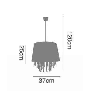 Pendente Lustre 120x37cm metal e acrílico preto