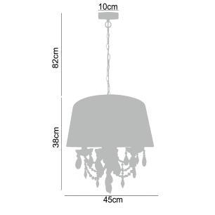 Pendente Lustre para mesa 120x45x45 cristal e tecido preto