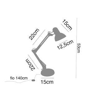 Luminária de Mesa metal preto, 46x15x15