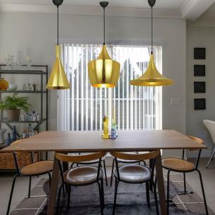 3 Pendentes  alumínio cor dourado para mesa jantar