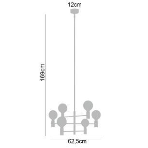Lustre Pendente 6 braços para sala 169x62x62 metal cromado