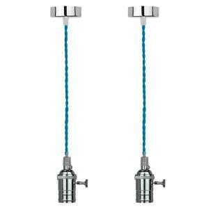2 Pendentes 165cm fio em tecido azul e bocal em metal