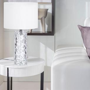 Abajur de mesa Charme 43X24X24 vidro e tecido veludo branco