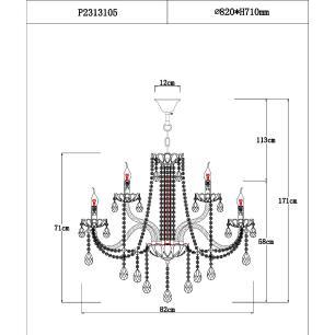Lustre Luxy Pendente 8 braços 171x82x82 cristal legitimo K9