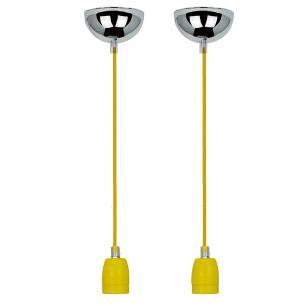 2 Pendentes luminária tecido 165cm na amarelo