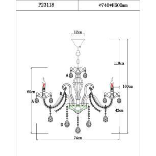 Lustre Candelabro 8 braços 160x74X74 cristal Legitimo K9