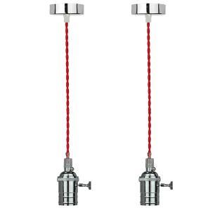 2 Pendentes 165cm fio em tecido vermelho e bocal em metal