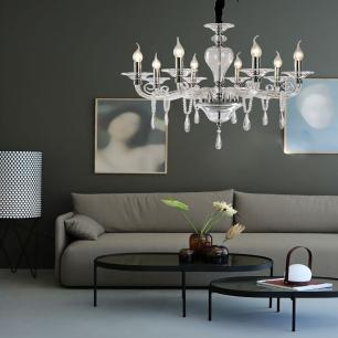 Lustre Pendente para sala 161x75x75 vidro e cristal legitimo