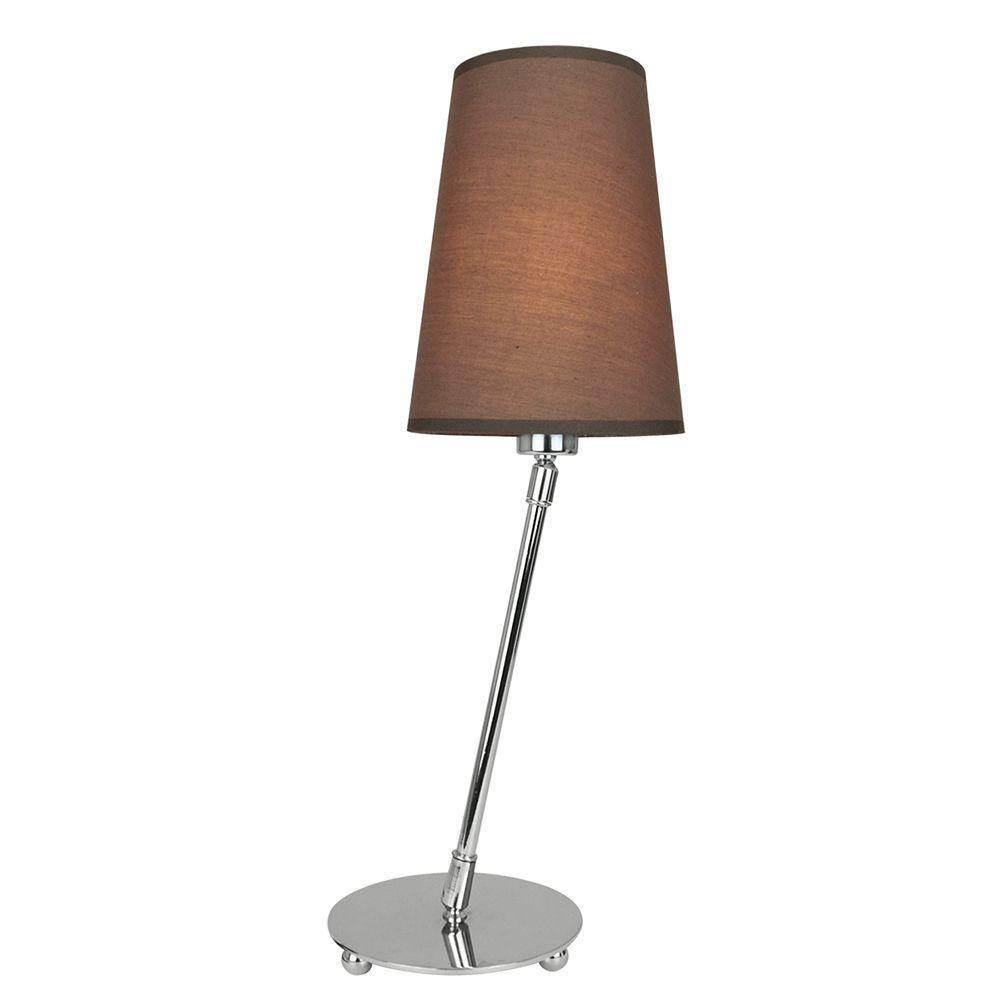 Abajur de mesa articulado 43x13x13 metal e tecido marron