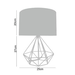 Abajur luminária de mesa charme para sala 47x25 metal preto